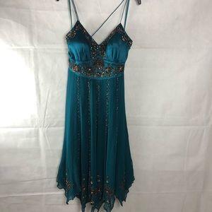Sue Wong Teal Silk Beaded Dress 4